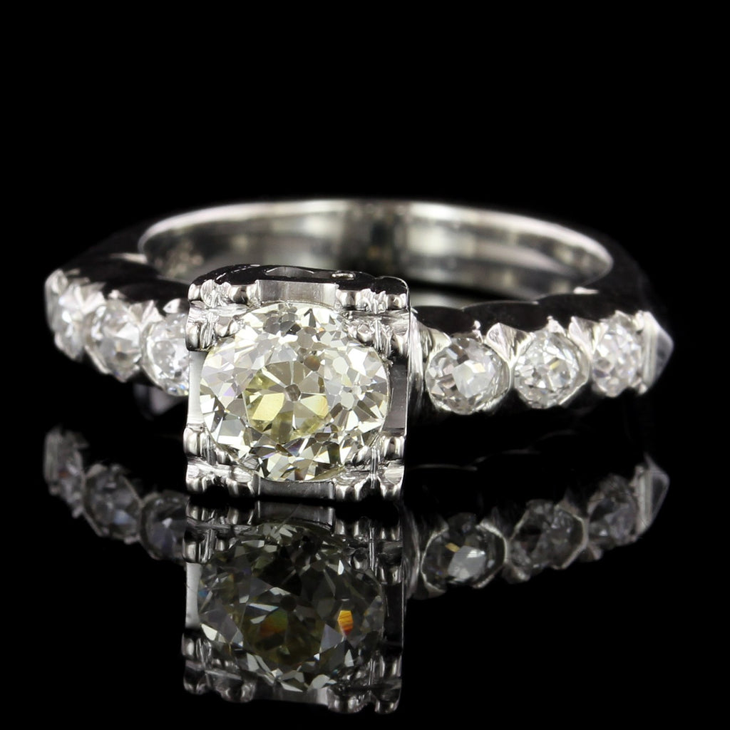 Vintage Style 18K White Gold Diamond Engagement Ring