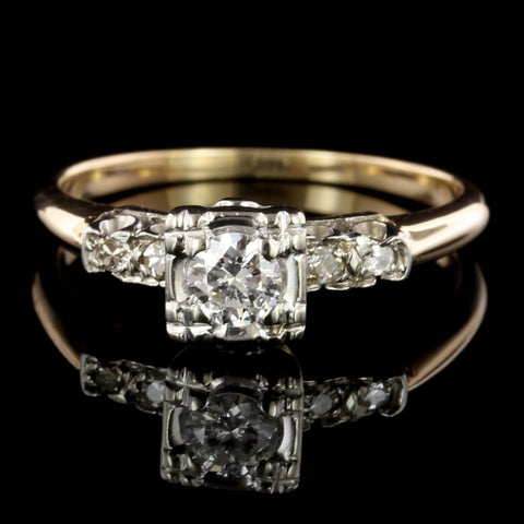14K Yellow and 18K White Gold Estate Diamond Solitaire Engagement Ring