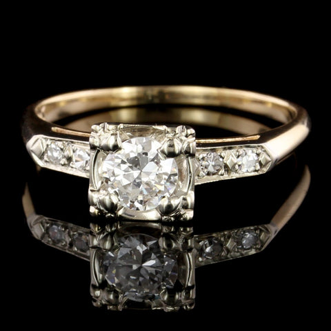 Vintage 14K Two-tone Gold Estate Diamond Solitaire Engagement Ring