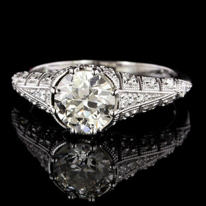 Vintage Style 14K White Gold Diamond Engagement Ring