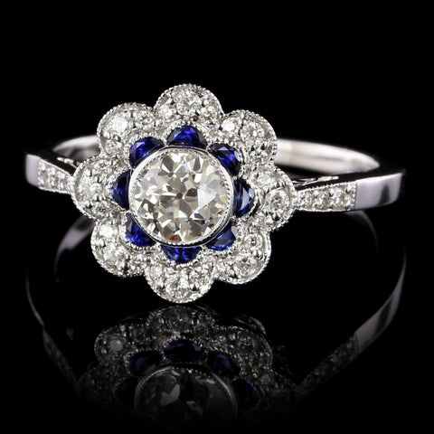 Vintage Style 14K White Gold Diamond and Sapphire Engagement Ring