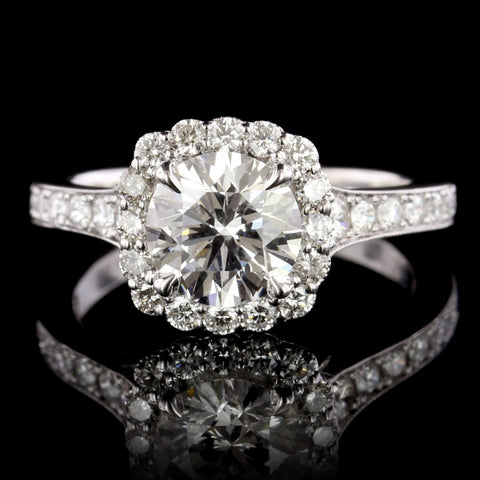 14K White Gold Estate Diamond Halo Engagement Ring