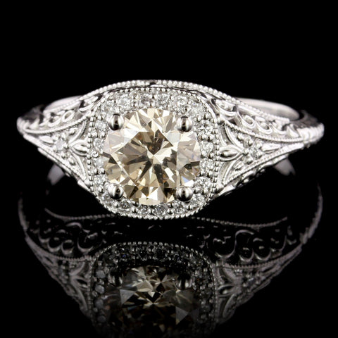 Vintage Style Platinum Estate Diamond Engagement Ring