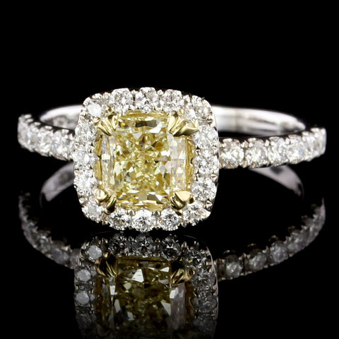 18K White Gold Estate Yellow Diamond Halo Engagement Ring