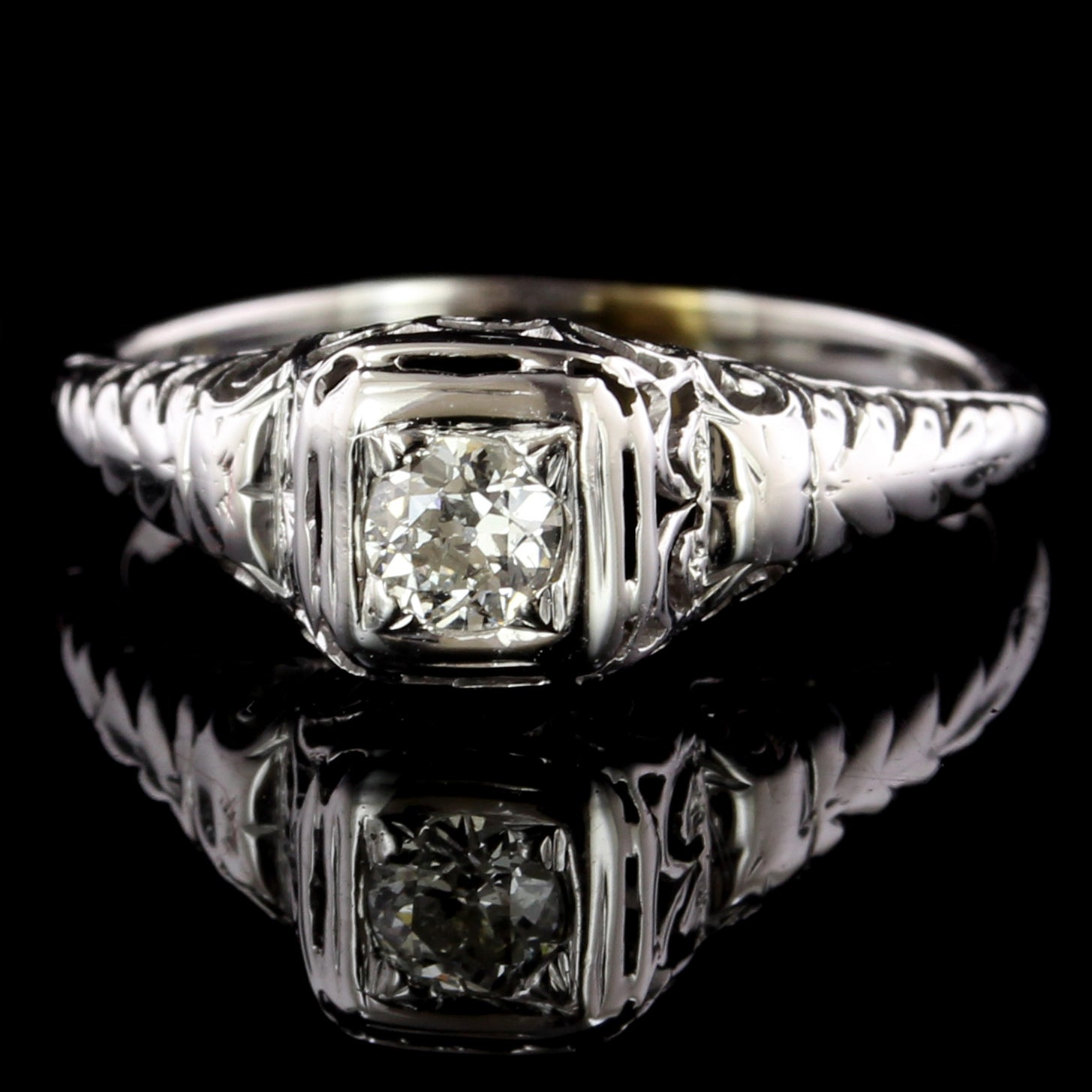 Vintage 14K White Gold Estate Diamond Filigree Engagement Ring