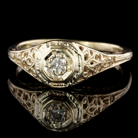 Vintage Style 14K Yellow Gold Estate Diamond Engagement Ring