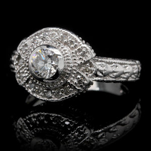 14K White Gold Estate Vintage Style Engagement Ring
