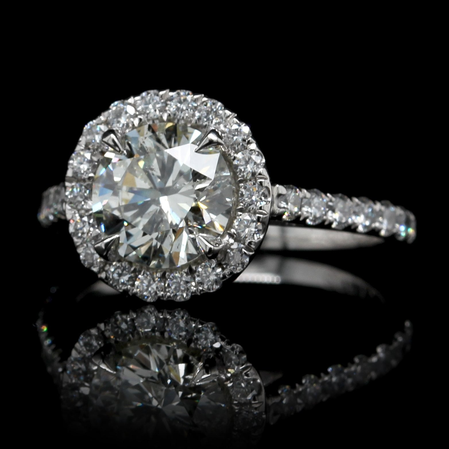Platinum Estate Diamond Halo Engagement Ring