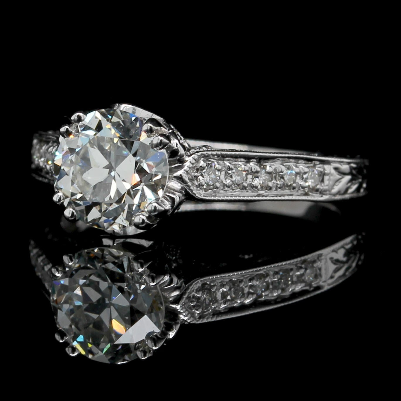 14K White Gold Diamond Old European Cut Solitaire Engagement Ring
