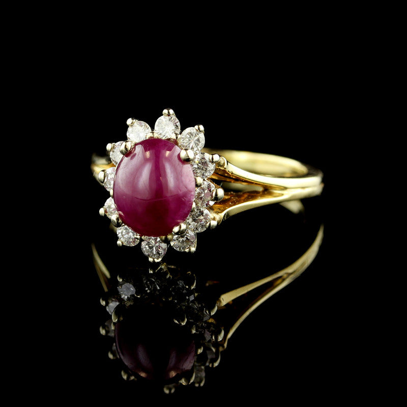 14K Yellow Gold Ruby Cabochon and Diamond Ring