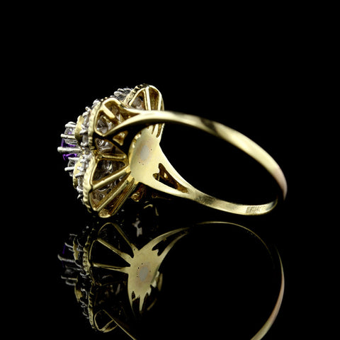 14K Two-Tone Amethyst and Diamond Ring