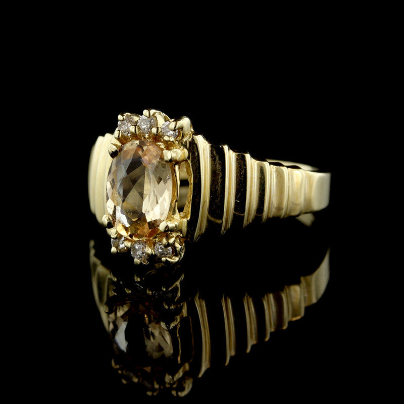 14K Yellow Gold Oval Yellow Sapphire and Diamond Ring