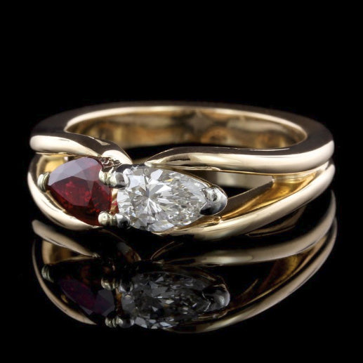 Hammerman Bros. 18K Yellow Gold, Platinim Estate Ruby and Diamond Ring