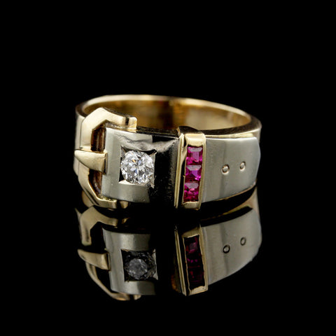 14K Two-Tone Gold Estate Ruby and Diamond Buckle Ring