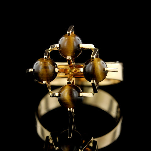14K Yellow Gold Tiger Eye Bead Ring