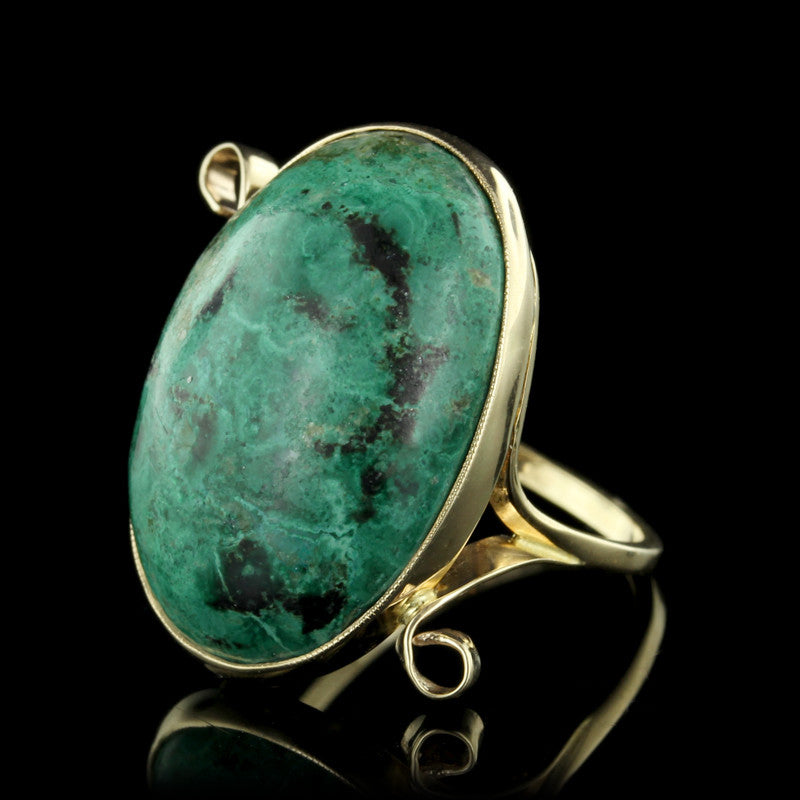 14K Yellow Gold Green Agate Ring