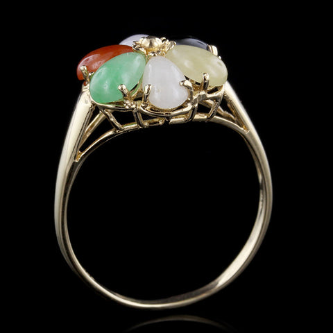 14K Yellow Gold Jade Ring