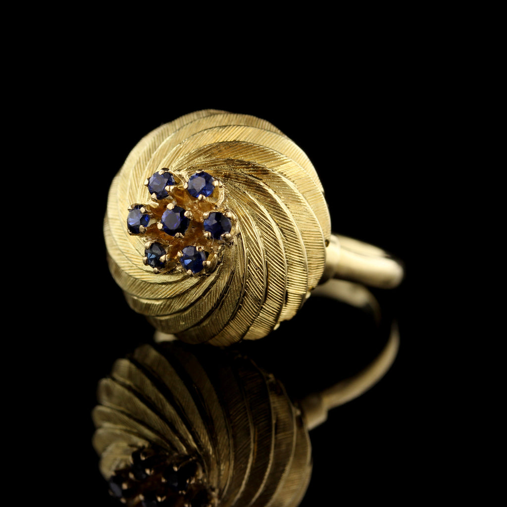 18K Yellow Gold Sapphire Twist Dome Ring