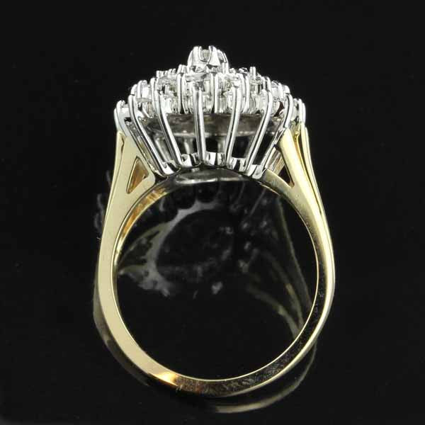 14K Two-Tone Gold Diamond Cluster Ring