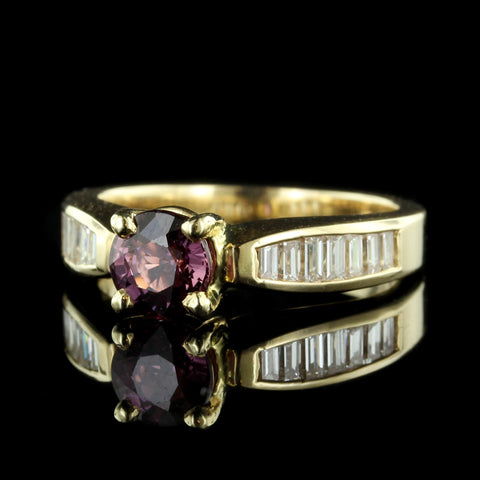 14K Yellow Gold Raspberry Sapphire and Diamond Ring