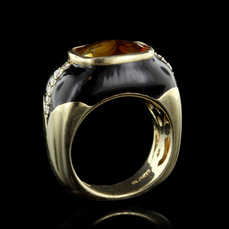 Haggai 14K Yellow Gold Citrine and Diamond Ring with Black Enamel