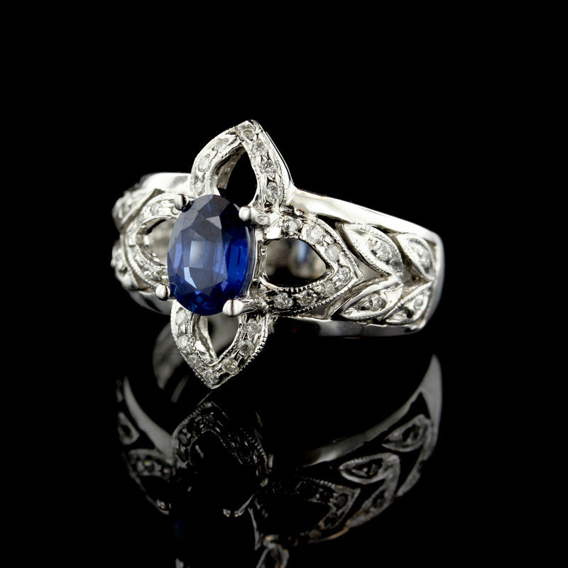 14K White Gold Sapphire and Diamond Quatrefoil Ring