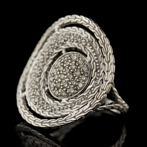 "John Hardy Sterling Silver and Diamond ""Langit"" Ring"