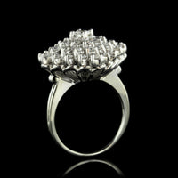 14K White Gold Estate Diamond Cluster Ring