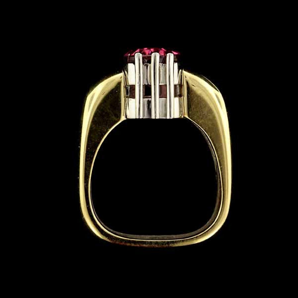Zoltan David Platinum and 18K Yellow Gold Pink Tourmaline and Diamond Ring