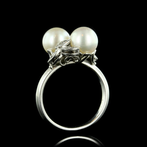 Platinum Cultured Pearl and Diamond Bypass Ring
