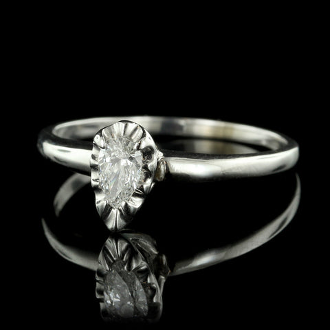 14K White Gold and Diamond Solitaire Ring