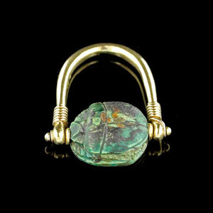 18K Yellow Gold Egyptian Faience Scarab Spinning Ring