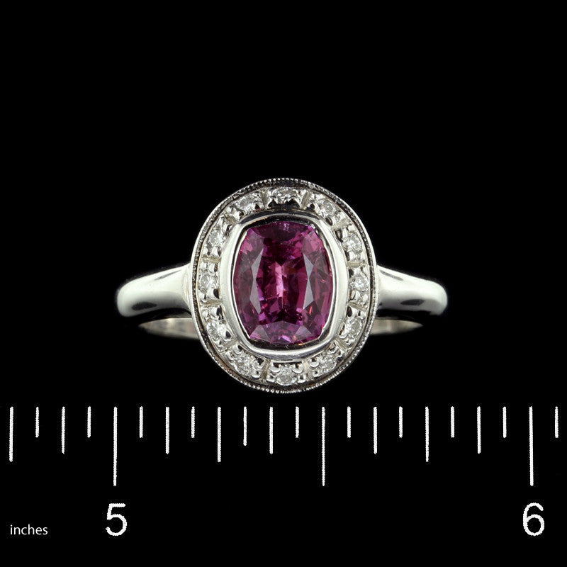 14K White Gold Pink Sapphire and Diamond Ring