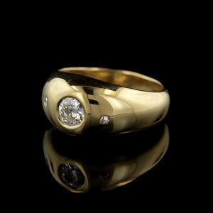 14K Yellow Gold Diamond Dome Ring