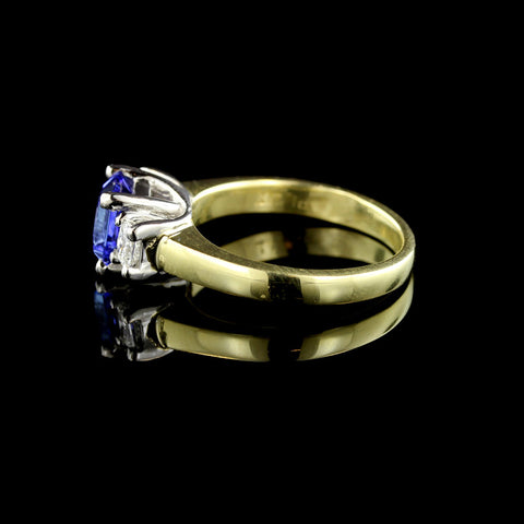 Platinum and 18K Yellow Gold Tanzanite and Diamond Ring
