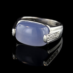 14K White Gold Chalcedony and Diamond Ring