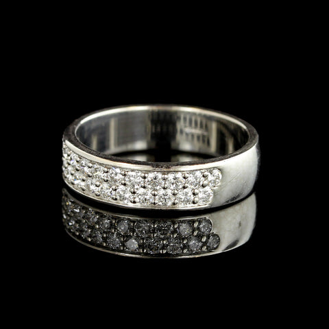 Memoire Platinum Two Row Pave Diamond Band