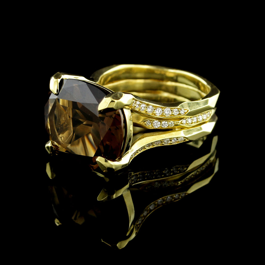Ron Hami 18K Yellow Gold Smoky Quartz and Diamond Ring