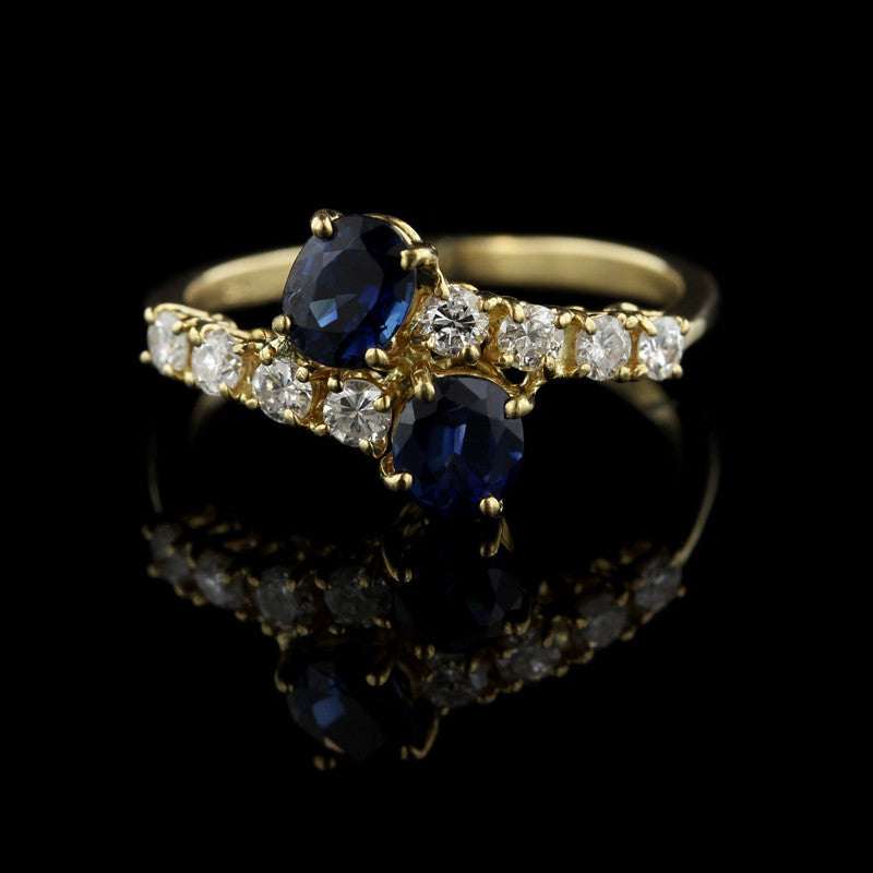 18K Yellow Gold Sapphire and Diamond Ring