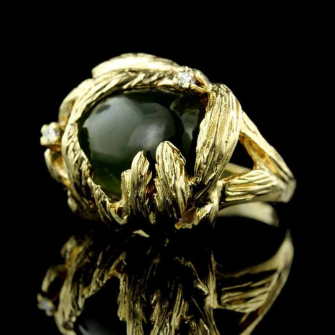 14K Yellow Gold Jade and Diamond Ring
