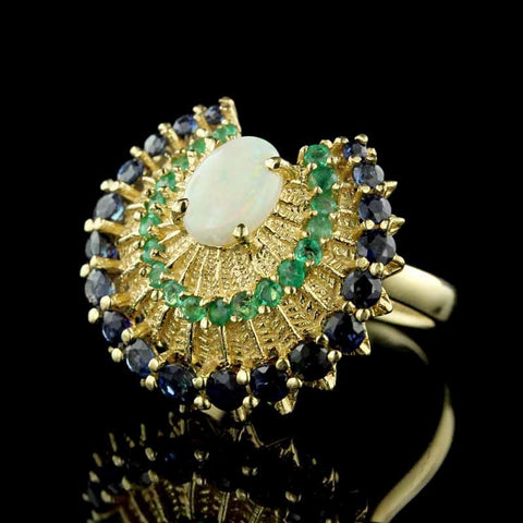 14K Yellow Gold Gem-set Peacock Style Ring