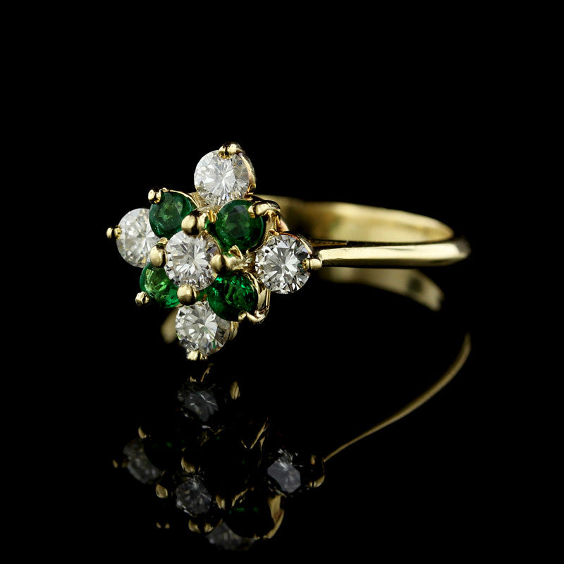 14K Yellow Gold Emerald and Diamond Ring.