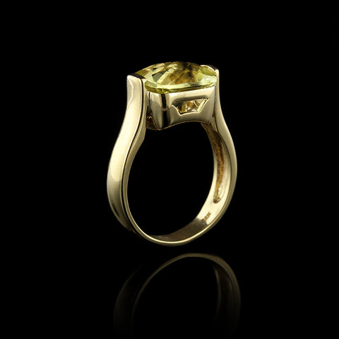 14K Yellow Gold Lemon Quartz Ring