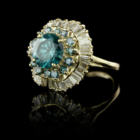 18K Yellow Gold Irradiated Blue Diamond Ring
