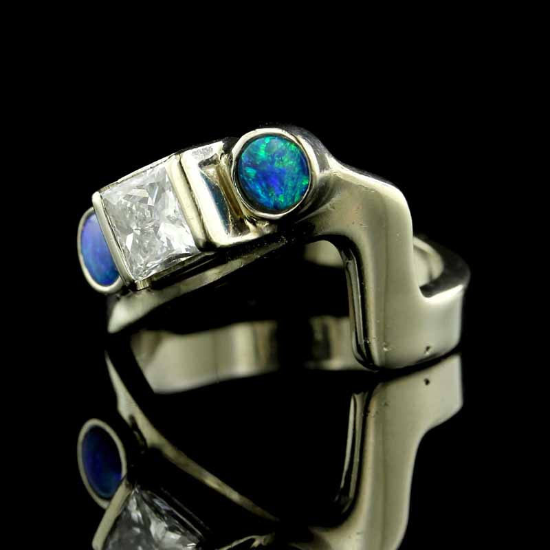 14K White Gold Diamond and Opal Ring