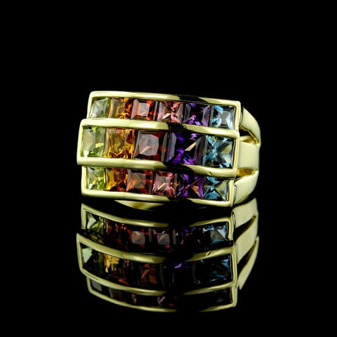 18K Yellow Gold Semi precious Multi Color Ring