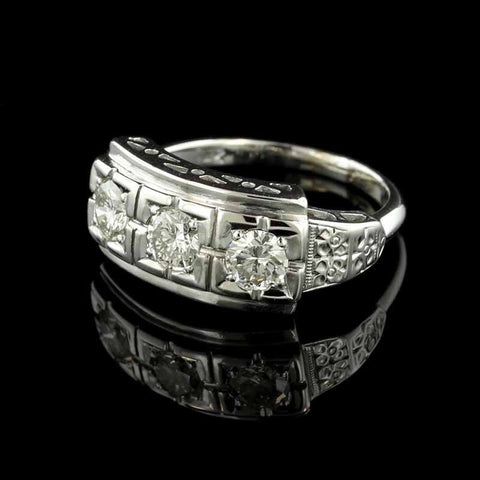 14K White Gold Three Diamond Ring