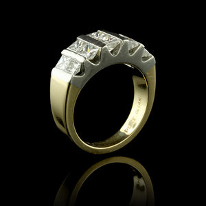 14K Yellow Gold and Platinum Diamond Ring
