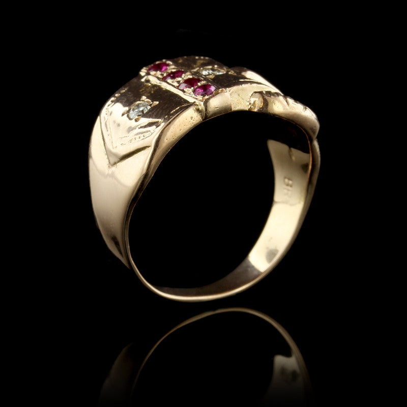 14K Rose Gold Estate Ruby and Diamonds Ring