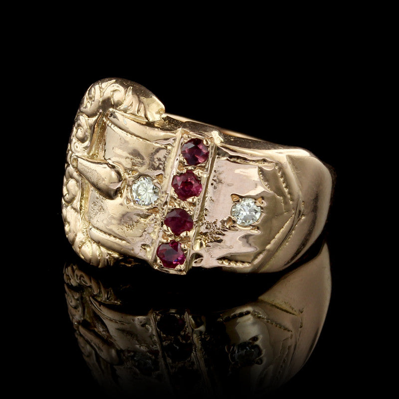14K Rose Gold Ruby and Diamonds Ring